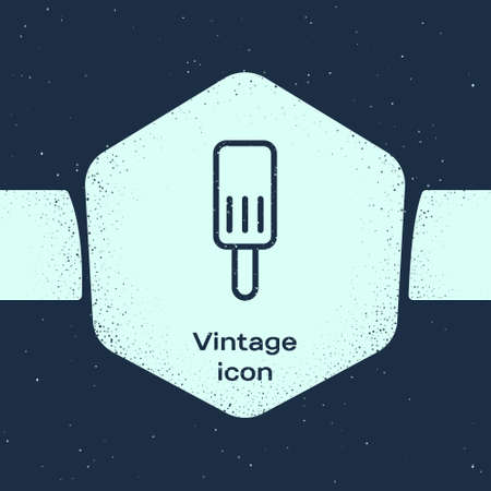 Grunge line Ice cream icon isolated on blue background. Sweet symbol. Monochrome vintage drawing. Vector. Stock Illustratie