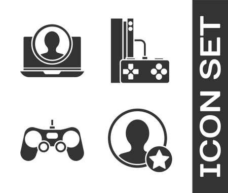 Set Premium create account screen, Create account screen, Gamepad and Game console with joystick icon. Vector. Illusztráció