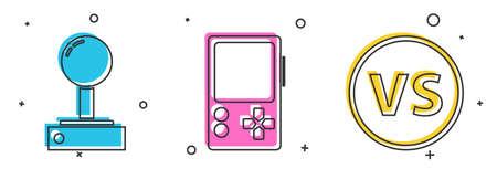 Set Joystick for arcade machine, Portable video game console and VS Versus battle icon. Vector.