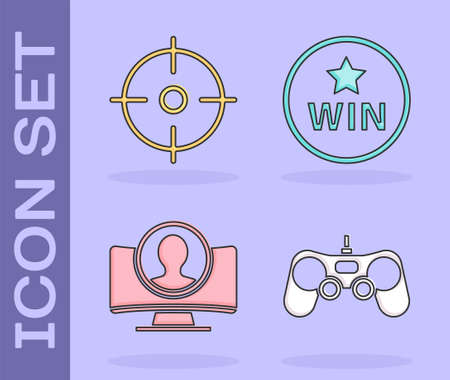 Set Gamepad, Target sport, Create account screen and Medal icon. Vector. Ilustrace