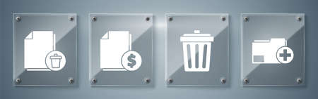 Set Add new folder, Trash can, Finance document and Delete file document. Square glass panels. Vector.