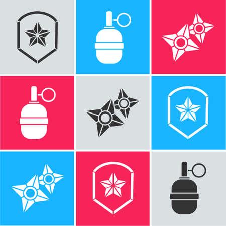 Set Police badge, Hand grenade and Japanese ninja shuriken icon. Vector.