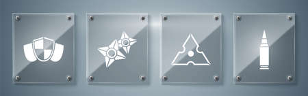 Set Bullet, Japanese ninja shuriken, Japanese ninja shuriken and Shield. Square glass panels. Vector.