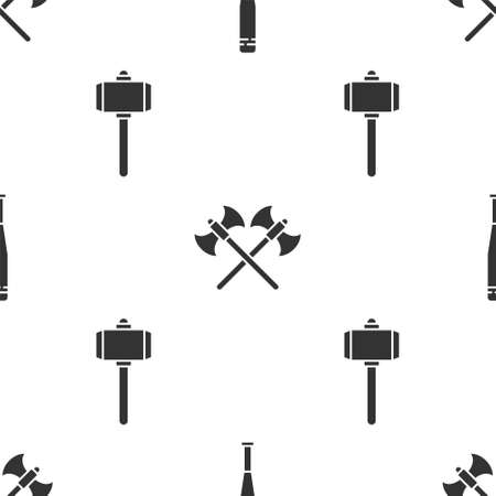 Set Baseball bat, Crossed medieval axes and Battle hammer on seamless pattern. Vector. Illustration