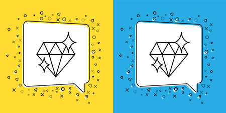 Set line Diamond icon isolated on yellow and blue background. Jewelry symbol. Gem stone. 8 March. International Happy Women Day. Vector Illustration.