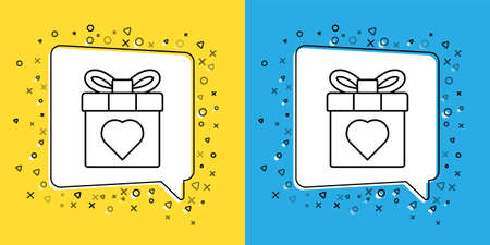 Set line Gift box and heart icon isolated on yellow and blue background. 8 March. International Happy Women Day. Vector Illustration.