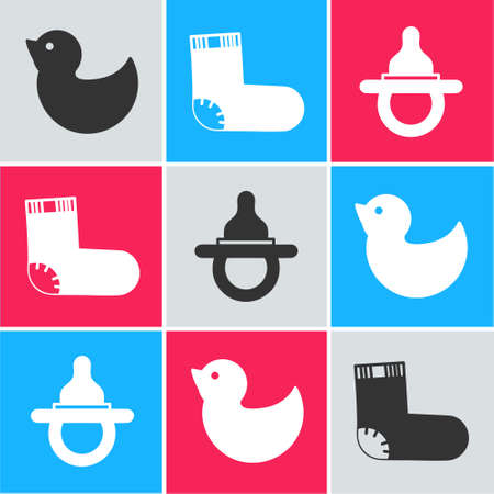 Set Rubber duck, Baby socks clothes and Baby dummy pacifier icon. Vector. Stock Illustratie