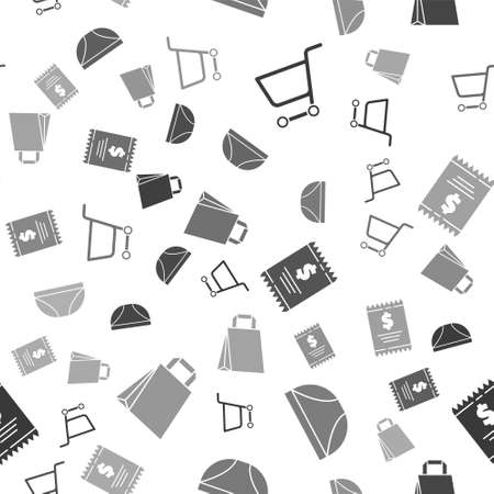 Set Shopping cart, Underwear, Paper check and financial check and Paper shopping bag on seamless pattern. Vector.