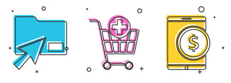 Set Cursor click document folder, Add to Shopping cart and Tablet with dollar icon. Vector.