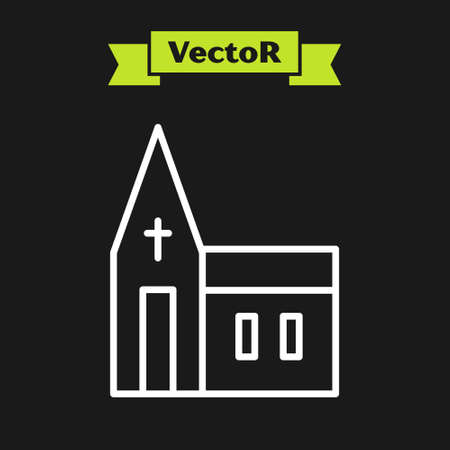 White line Church building icon isolated on black background. Christian Church. Religion of church. Vector. Illustration