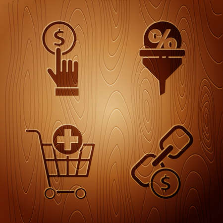 Set Chain link and coin, Hand holding coin, Add to Shopping cart and Lead management on wooden background. Vector.