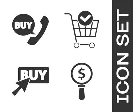 Set Magnifying glass and dollar, Phone and speech bubble with Buy, Buy button and Shopping cart with check mark icon. Vector Çizim