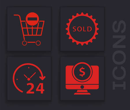 Set Computer monitor with dollar, Remove shopping cart, Sold label and Clock 24 hours icon. Vector. Ilustração