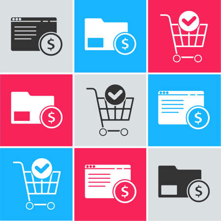 Set Online shopping on screen, Envelope with coin dollar and Shopping cart with check mark icon. Vector.