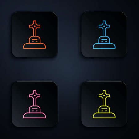 Color neon line Grave with cross icon isolated on black background. Set icons in square buttons. Vector.