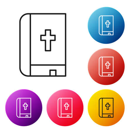 Black line Holy bible book icon isolated on white background. Set icons colorful circle buttons. Vector