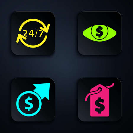 Set Price tag with dollar, Clock 24 hours, Financial growth and coin and Eye with dollar. Black square button. Vector.