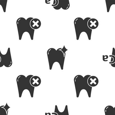 Set Calcium for tooth, Tooth whitening concept and Tooth with caries on seamless pattern. Vector