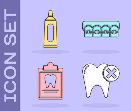 Set Tooth with caries, Tube of toothpaste, Clipboard with dental card and Teeth with braces icon. Vector Çizim