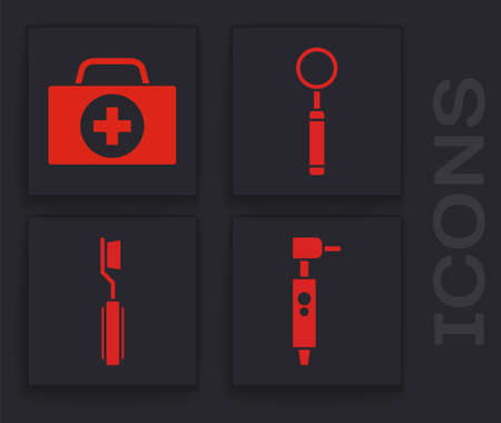 Set Tooth drill, First aid kit, Dental inspection mirror and Toothbrush icon. Vector