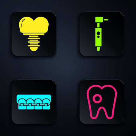 Set Tooth with caries, Dental implant, Teeth with braces and Tooth drill. Black square button. Vector