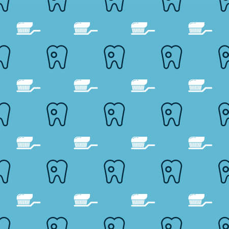 Set Tooth with caries and Toothbrush with toothpaste on seamless pattern. Vector