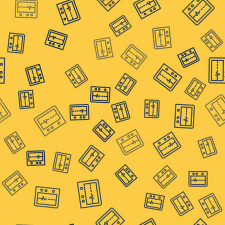 Blue line Beat dead in monitor icon isolated seamless pattern on yellow background. ECG showing death. Vector.