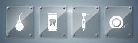 Set Dental floss, Tooth drill, Online dental care and Enema pear. Square glass panels. Vector.