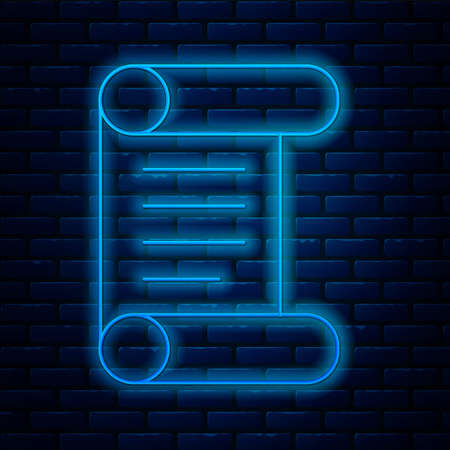 Glowing neon line Decree, paper, parchment, scroll icon icon isolated on brick wall background. Vector.