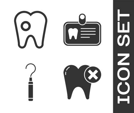 Set Tooth with caries, Tooth with caries, Dental explorer scaler for teeth and Id card with tooth icon. Vector