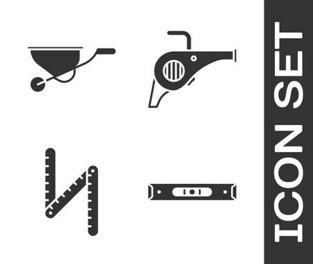 Set Construction bubble level, Wheelbarrow, Folding ruler and Leaf garden blower icon. Vector. Vettoriali
