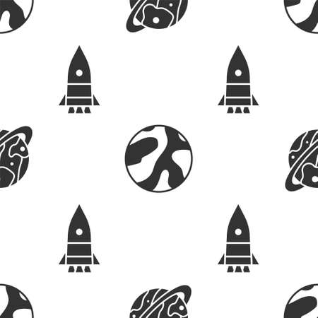 Set Planet Saturn, Planet and Rocket ship on seamless pattern. Vector