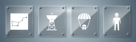 Set Alien, Space capsule and parachute, Satellite dish and Great Bear constellation. Square glass panels. Vector