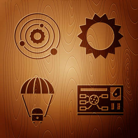 Set Futuristic hud interface, Solar system, Space capsule and parachute and Sun on wooden background. Vector