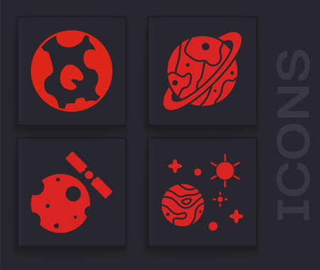 Set Space and planet, Earth globe, Planet Saturn and Satellites orbiting the planet Earth icon. Vector