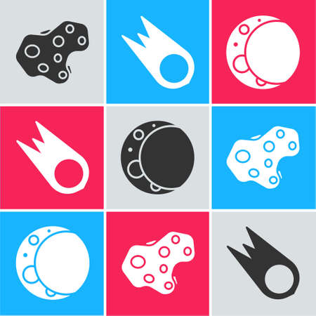 Set Asteroid, Comet falling down fast and Moon icon. Vector Çizim