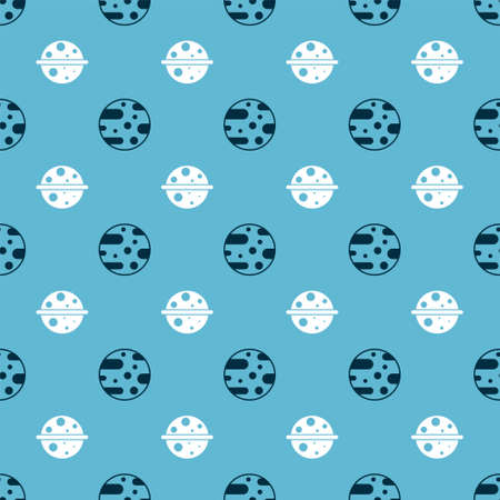 Set Planet Mars and Planet Saturn on seamless pattern. Vector
