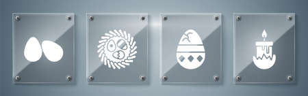 Set Burning candle, Cracked egg, Easter egg in a wicker nest and Easter eggs. Square glass panels. Vector
