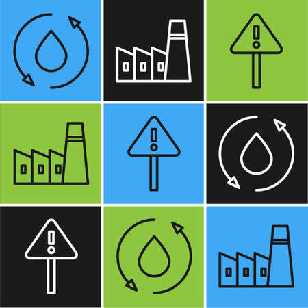 Set line Oil drop, Exclamation mark in triangle and Oil industrial factory building icon. Vector