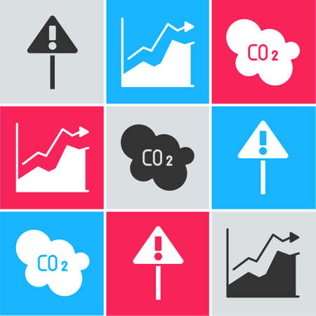 Set Exclamation mark in triangle, Oil price increase and CO2 emissions in cloud icon. Vector.
