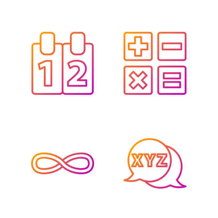 Set line Calculator, Function mathematical symbol, Mathematics function cosine and Feather and inkwell. Gradient color icons. Vector Illustration