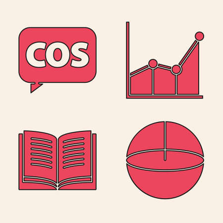 Set Geometric figure Sphere, Mathematics function cosine, Graph, schedule, chart, diagram and Open book icon. Vector.