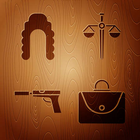 Set Briefcase, Judge wig, Pistol or gun with silencer and Scales of justice on wooden background. Vector.