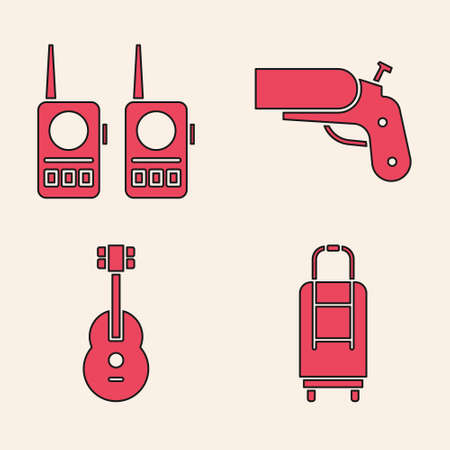 Set Suitcase, Walkie talkie, Flare gun pistol and Guitar icon. Vector Stock fotó - 150609126