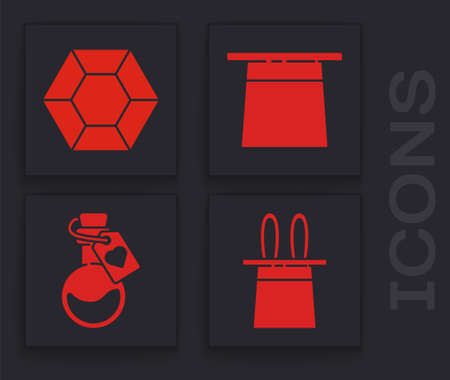Set Magician hat and rabbit ears, Magic stone, Magician hat and Bottle with love potion icon. Vector.