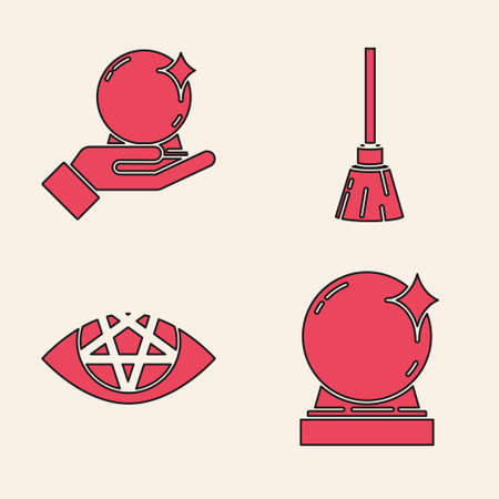 Set Magic ball, Magic ball on hand, Witches broom and Pentagram icon. Vector Ilustracja