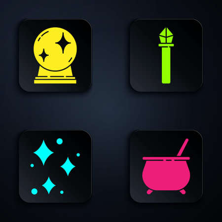 Set Witch cauldron, Magic ball, Sparkle stars with magical glitter and Magic staff. Black square button. Vector