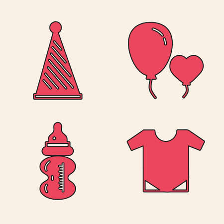 Set Baby things, Party hat, Balloons in form of heart and Baby bottle icon. Vector. Çizim