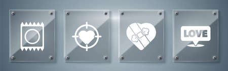 Set Speech bubble with text love, Candy in heart shaped box, Heart in the center of darts target aim and Condom in package. Square glass panels. Vector. Ilustrace