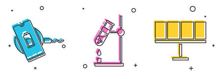 Set Wireless charger, Test tube flask on fire and Solar energy panel icon. Vector.